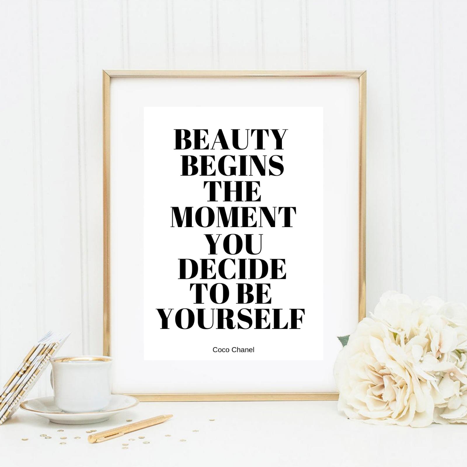 Druck Kunstdruck A4 Spruch Coco Chanel Schönheit Beauty Motivation Bild Neu
