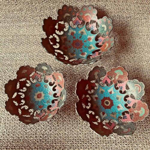 Brass and Enamel Scallop Nesting Bowls Set of three Made in India Boho Decor