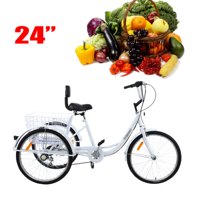 "Ridgeyard 24"" Adult Tricycle 3-Wheel Shimano 7 Speed Bicycle"