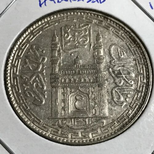 1943 INDIA HYDERABAD PRINCELY STATES SILVER ONE RUPEE COIN