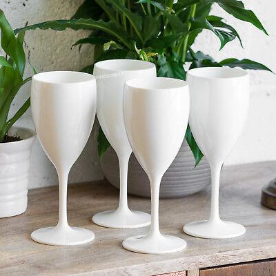 Polycarbonate Plastic Wine Glasses - Set of 4 350ml White Glossy Polycarbonate Plastic Wine Glasses Bar Wedding Party