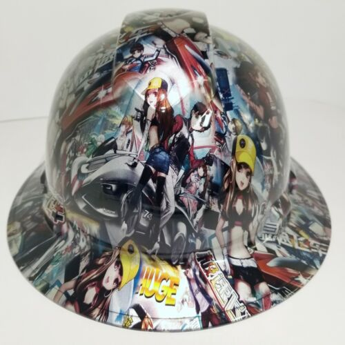 FULL BRIM Hard Hat custom hydro dipped, NEW JAPANESE ANIME SPEED RACER GIRLS