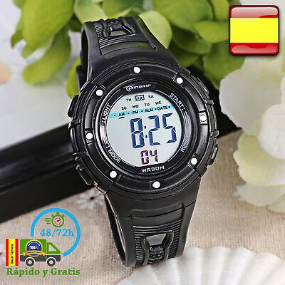 Reloj de Niño Digital Infantil Deportivo Negro Relojes Multifunción Para Niños