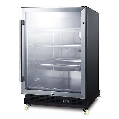 Summit Scr610blri One Section Glass Door Undercounter Refrigerator