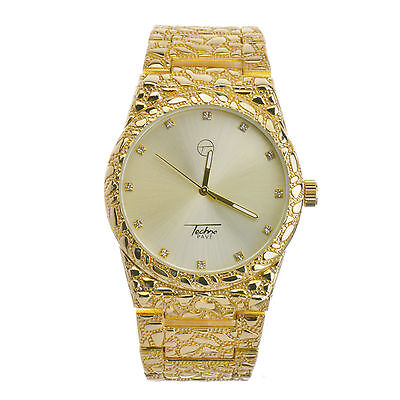 Techno Pave Hip Hop Nugget Pattern 14K Gold Plated Metal Band Watches WM 8364 G