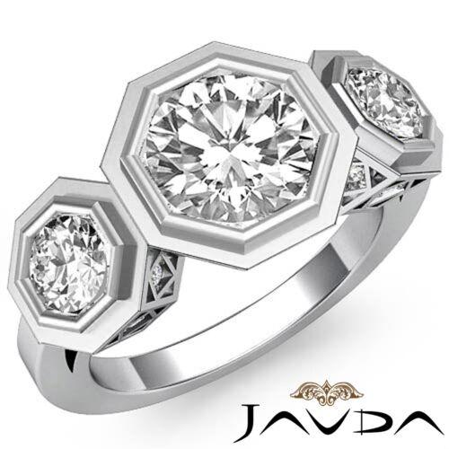 Diamond 1.84ct Round Bezel Set 3 Stone Engagement Ring GIA F Color VVS2 Platinum