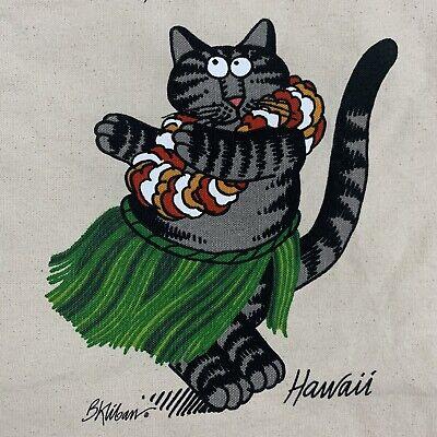 Vintage Crazy Shirts Hawaiian Kliban Cat Canvas Tote Bag EUC