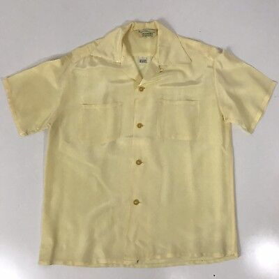 Vintage 50S 60S Brent California Camp Shirt S Yellow Loop Collar Rockabilly