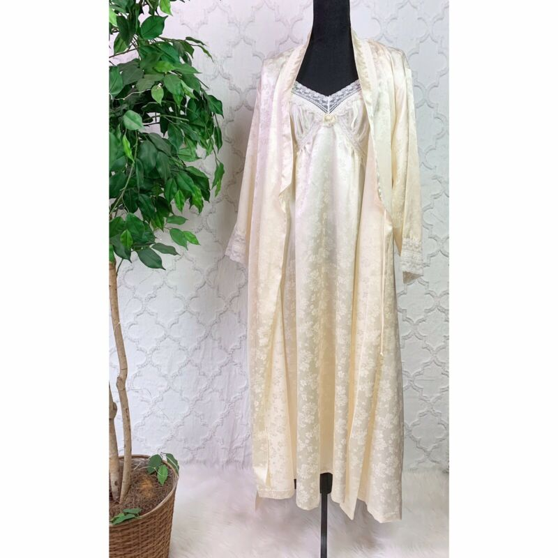 Vintage Christian Dior Floral Lace Satin Nightgown And Robe Matching Set