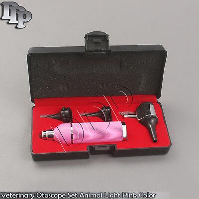 Veterinary Otoscope Set Animal Light Pink Color Diagnostic Instruments