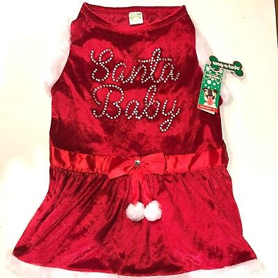 Christmas Dog Dress Santa Baby Red Wag A Tude White Faux Fur Costume Pet NEW - Baby Dog Costumes