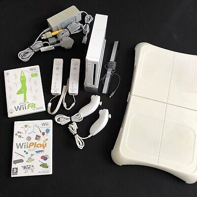 Nintendo Wii Bundle - Console, Wii Fit, Wii Play, 2 Controllers + More