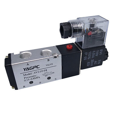 Us Stock 110vac Pneumatic Electric Solenoid Air Valve 5 Way 2 Position 4v210-08