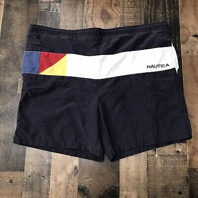 Vintage Nautica Mens Size Medium Colorful Swim Trunks Striped