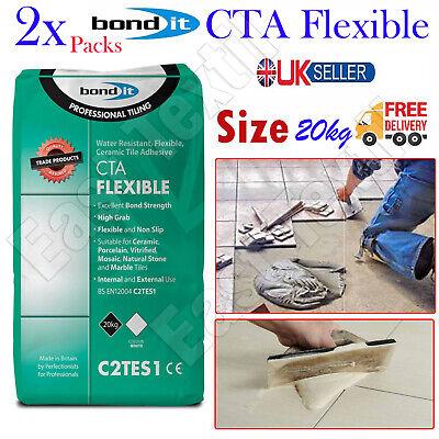 2pcs Bond It CTA Flexible Tile Adhesive White Cement Ceramic Floor Wall 20kg New