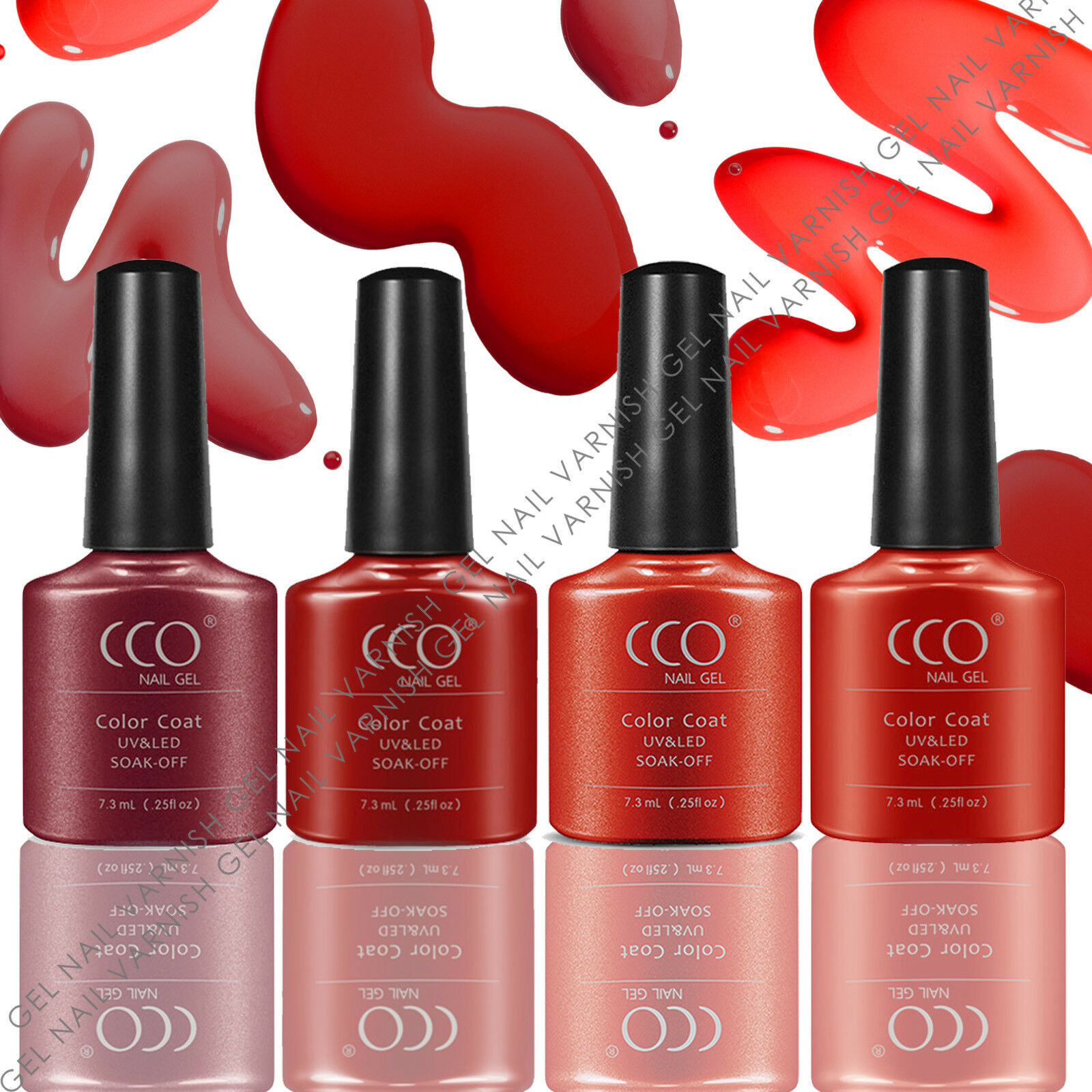 CCO RED COLLECTION 4 COLOURS SET UV/LED NAIL GEL POLISH GELS NAILS ...