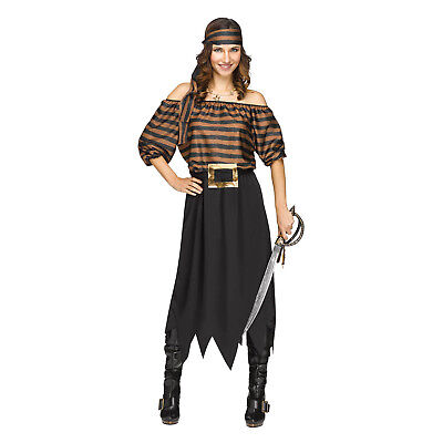 Women's Striped Pirate Halloween Costume Dress Sea Wench Black Easy Teacher Mom - Easy Woman Costume Halloween