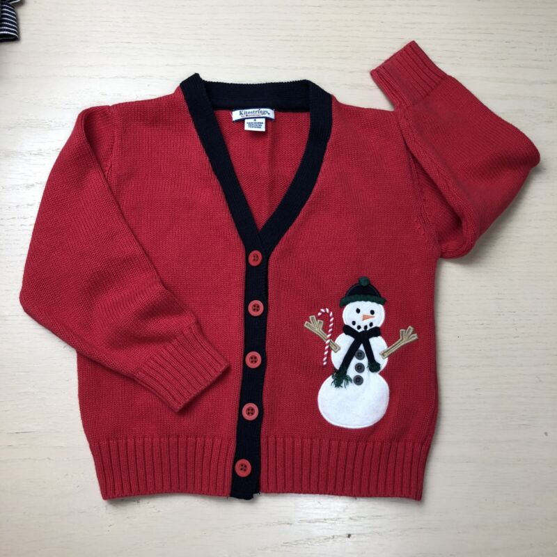 Vintage Kitestrings Snowman Cardigan Boys 4 Red Knit Christmas Sweater