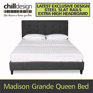 QUEEN AND KING UPHOLSTERED BED FRAME 1085H TUFTED FABRIC BED HEAD