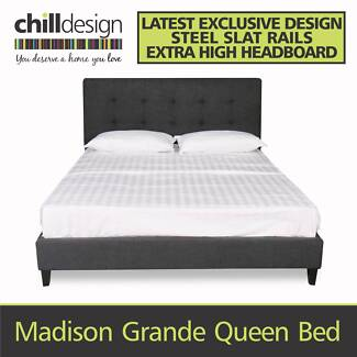 QUEEN AND KING UPHOLSTERED BED FRAME 1085H TUFTED FABRIC BED HEAD Moffat Beach Caloundra Area Preview