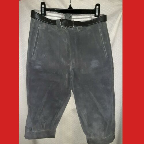 BAVARIAN TRACHTEN Knee-Length LEDERHOSEN Appears New w/o Tags 7 Heavy GRAY SUEDE