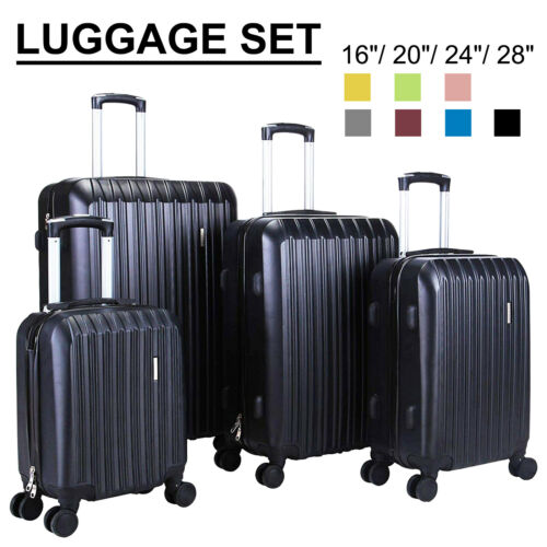 3/4Piece ABS Travel Set Bag Trolley Spinner Suitcase Luggage