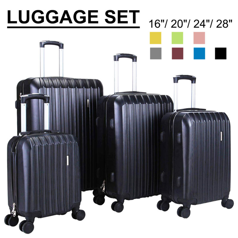 "3/4Pcs Travel Set Bag Trolley Spinner Suitcase Luggage ABS w/Lock 16""20""24""28"""