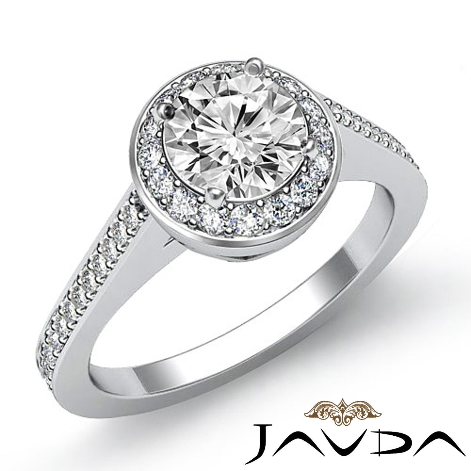 Halo Pave Setting Round Brilliant Diamond Engagement Ring GIA I Color VS2 2 Ct