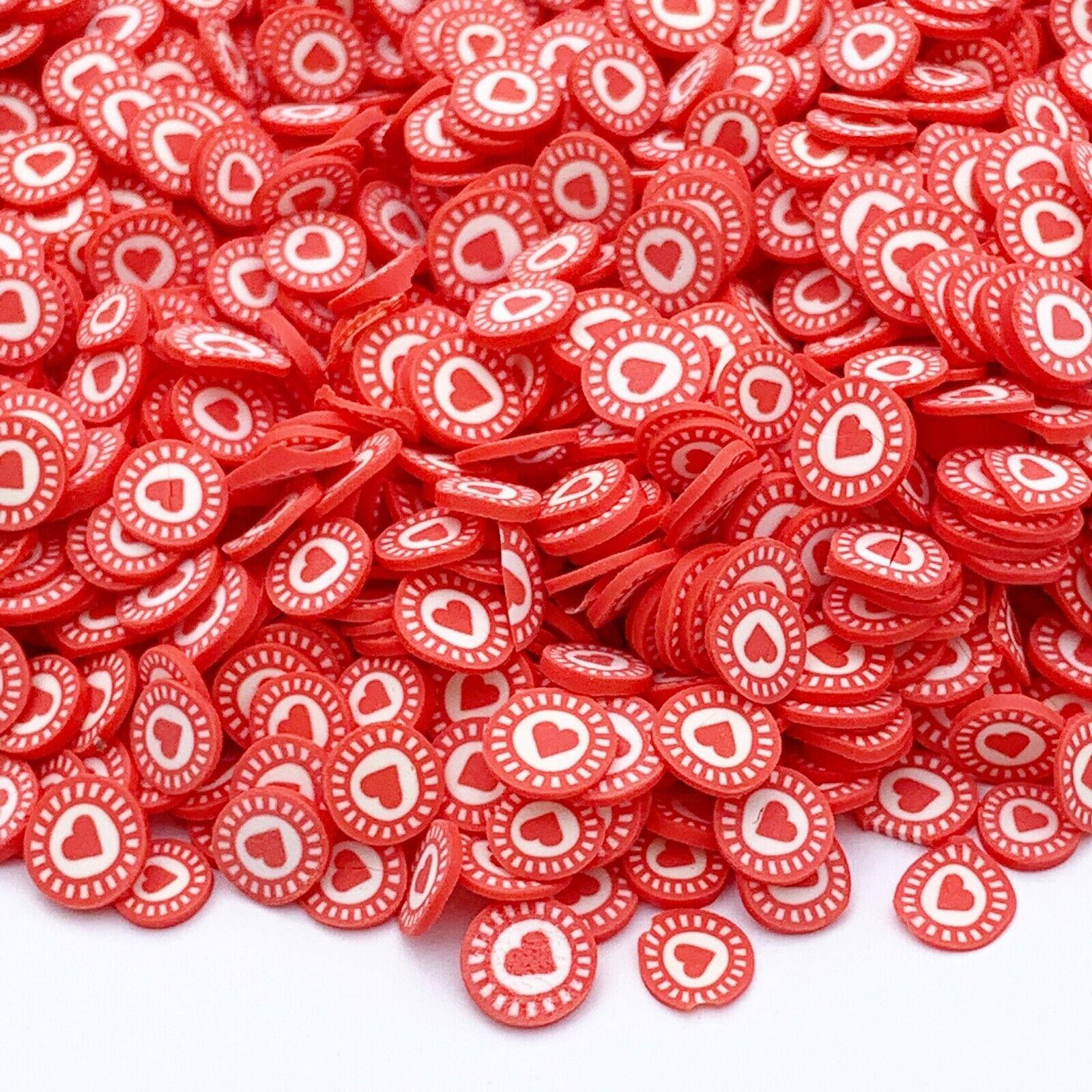 Polymer Clay Heart Sprinkles, Valentines Fake Sprinkles, Decoden Funfetti Jimmie - $1.75