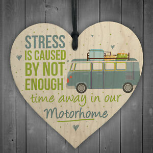Motorhome Caravan Campervan Novelty Wooden Heart Camping Holiday Sign Gift