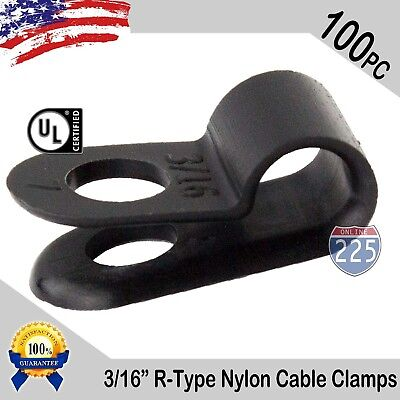 100 Pcs Pack 316 Inch R-type Cable Clamps Nylon Black Hose Wire Electrical Uv