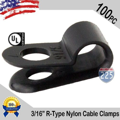 "100 PCS PACK 3/16"" Inch R-Type CABLE CLAMPS NYLON BLACK HOSE WIRE ELECTRICAL UV"