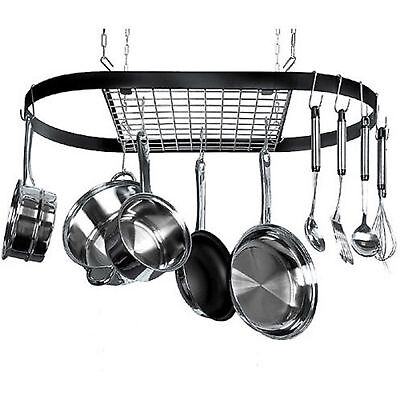 Pot and Pan Hanging Rack Hook Ceiling Mount Oval Wrought Iron Holder Cookware BT