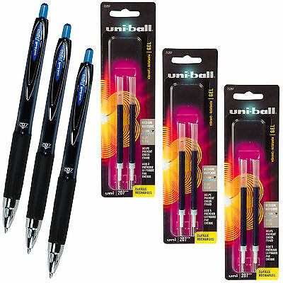 Uniball Signo 207 Blue Gel Ink Rollerball Pens With 3 Packs Of Refills 0.7mm