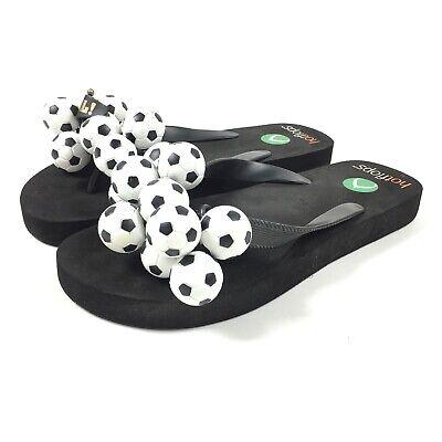 Hotflops Sports Flip Flop Beach Sandals Soccer Balls Black White Sz 6 -7 -