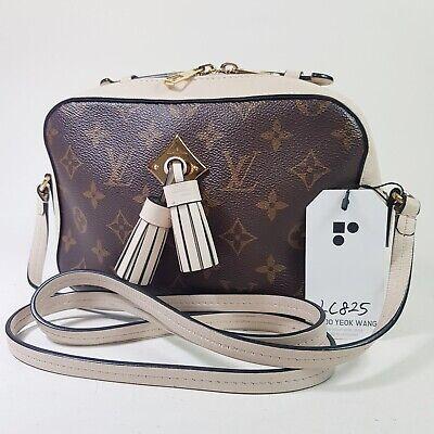 Auth Louis Vuitton Saintonge Monogram Creme M43559 Guaranteed Camera Bag LC825