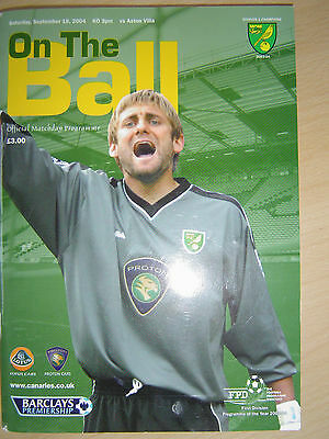 "Norwich City versus Aston Villa ""On The Ball""  Programme September 2004"