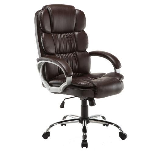 PU Leather High Back Office Chair Executive Task Ergonomic Computer Desk