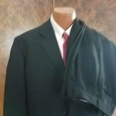 Armani Collezioni 48 L Black Wool Three Button 2 Pc Men's Suit ITALY