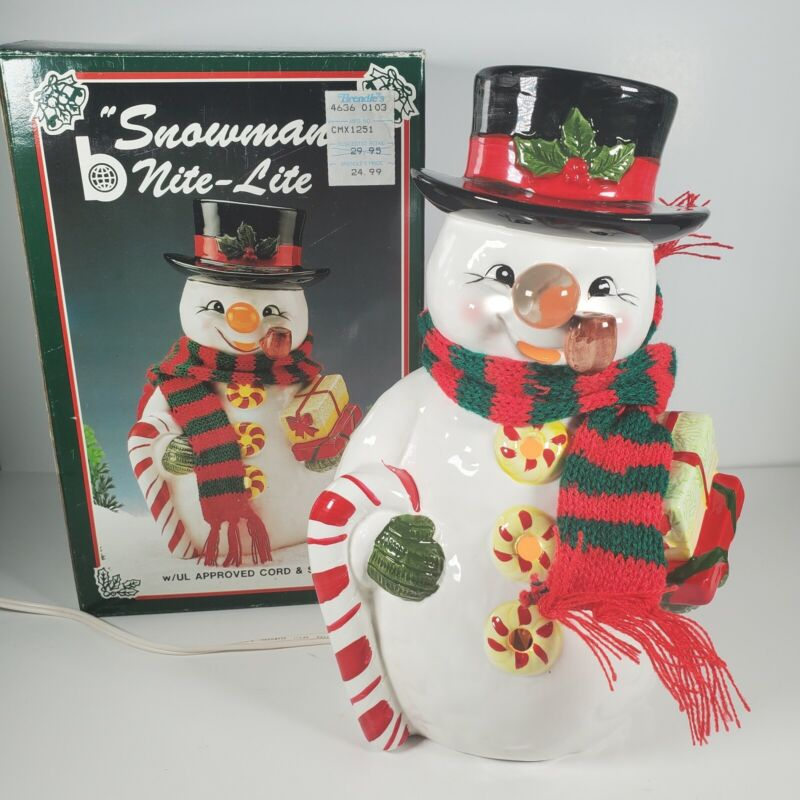"Vintage Christmas Ceramic Painted Snowman Nite Lite light up 10"" Brinn"