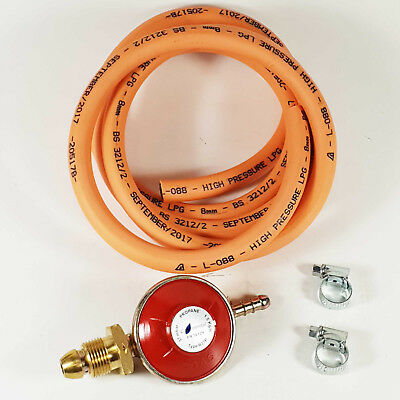 BBQ / Cooker Propane Regulator Gas Hose Kit Clips Heater Stove Set / 2M Hose Kit