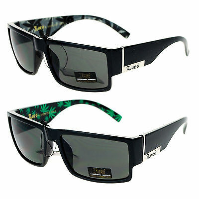 Locs Marijuana Pot Leaf Print Rectangular Mad Dog (Mad Dog Sunglasses)