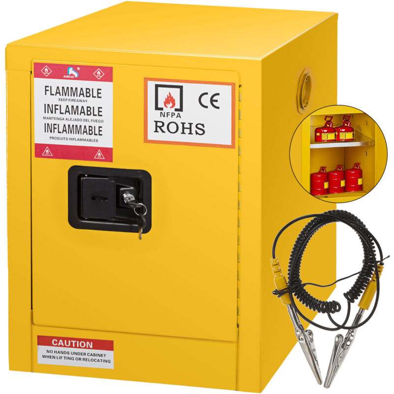 12 Gallon Yellow Safety Storage Cabinet Manual Close Welded Flammable Liquid
