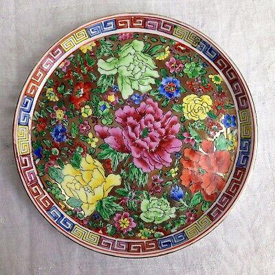 Aparter Teller Tablett Platte Blumen Peonien Goldstaffage Made in China Ø 19 cm