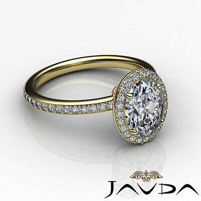 2 ct Oval Diamond Vintage Engagement Halo Classic Ring H VS2 14k White Gold GIA 8