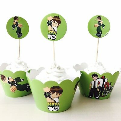 12x Ben 10 Topper + Wrapper. Party Supplies Lolly Loot Bag Bunting Flag Deco