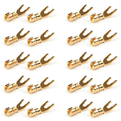 20 Pcs Copper Speaker Cable Spade Connector Terminal Plug Gold Plated Adapter T2