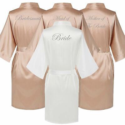 Champagne Satin Wedding Bride Bridesmaid Kimono Robe Maid of Honor Party Gown