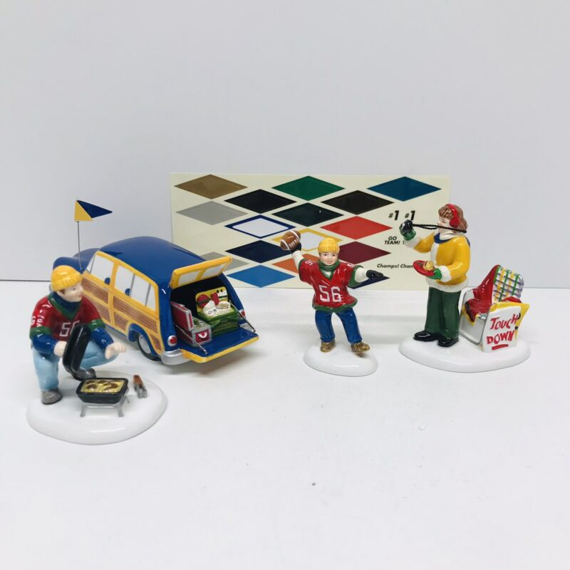 Dept 56 Snow Village Accessories Before The Big Game 55019 4 Piece Set in Box