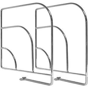 Set of 2 Chrome Metal Clothes Shelf Storage Organiser Wardrobe Divider/Separator